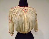 Eastern European Folk Peasant Blouse early 1900's Muslin Gauze with Cross-stitching and pleats, Signed with maker's initials