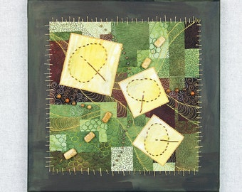 Eco Dyed Quilted Fabric, Mixed Media Fiber Art Quilt on Canvas, Leaf Quilt