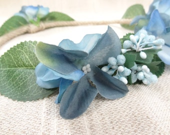 Blue Hydrangea Flower Crown, Wedding Hair Wreath, Bridal Flower Crown, Hair Accessories, Bridesmaid Gift, Woodland