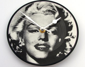 "MARILYN MONROE Vinyl Record CLOCK made from recycled 7"" picture Disc, unique gift, black and white, upcycled, monochrome, glamour, women"