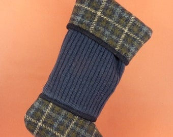 Christmas Stocking//Felted Wool//Blue//Plaid//Navy//Ribbed Knit//Recycled//Repurposed 170