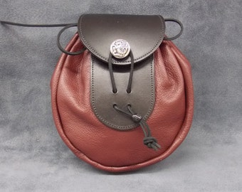 Leather Sporran - Burgundy