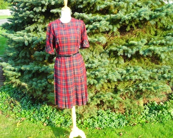 50's Red plaid thin wool  dress,  elbow length sleeves , A-line with 4 kick pleats, Betty Hartford