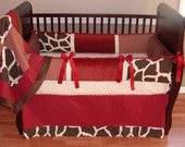 SALE! Custom Modpeapod Giraffe Crib Baby Bedding Set ONLY ONE on sale and ready to ship