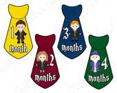 Boy Monthly Baby Stickers, 1 to 12 Months, Monthly Bodysuit Stickers, Baby Age Stickers, Magic School Ties