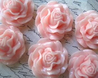 Large Rose Cabochon / Light Pink / 31mm / 3 pcs / Resin Flower Cabochon / Necklace Focal / Flat Backs / No Holes