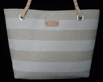 On Sale - Beige/Natural Striped Purse - Medium - Canvas Bag - Purse - Nautical - Shoulder Bag w leather handles - Handmade - Handbag