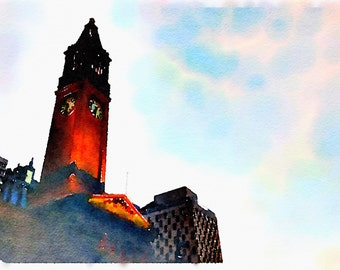Watercolor Print - Brisbane City Hall Clock Tower - Cityscape