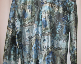 vintage, Feelin Free of California all over vintage bicycle print 70s disco mens long sleeve shirt size L
