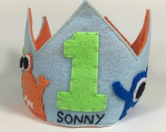 Personalized Felt Monster Birthday Crown