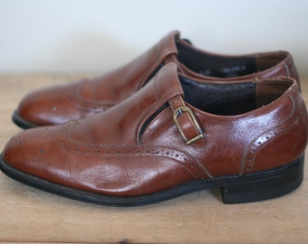 vintage brown leather wingtip style by mason size 9D