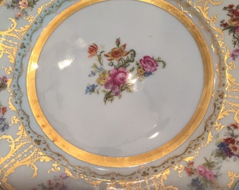 Antique Plates/Limoges/11 Dinner Plates/Circa 1900/Hand Painted Flowers/22 Kt Gold/Wm Guerin Company France/Cabinet Display/Wedding Gift