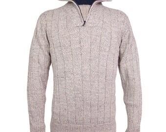 Alpaca zip neck jumper / sweater for men