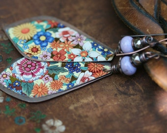 Rustic Boho Folk Rustic 'Earth Gardens' Series Floral Tin earrings n241- upcycled tin . artisan earrings . floral tin earrings . marquise