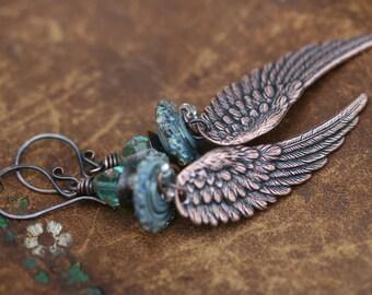 Boho Tribal 'Angel Wings' earrings n114b- antique copper wing . lead and nickel free . long boho wings . blue artisan borosilicate lamp work