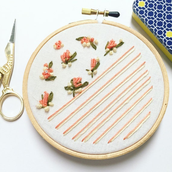 Floral hand embroidery hoop art vintage home decor by