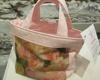 Handcrafted Textile Bags, Totes, floral fabric bags, roses bags, Sally Chupick, handsewn handbags, 12x12, 16x16