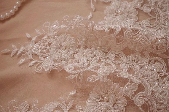 beaded lace trim ivory bead alencon lace trim beading lace