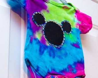 mickey mouse tie dye girl onesie 0-3 months