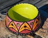 Large Hand Painted Ceramic Pet Bowl