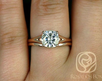 Khaleesi 7.5mm 14kt Rose Gold Cushion F1- Moissanite Split Cathedral Wedding Set (Other metals and stone options available)