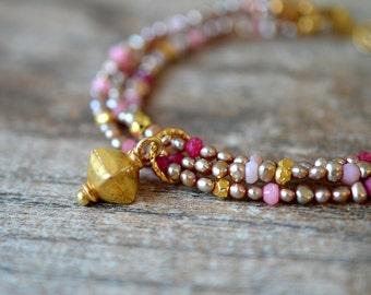 Taupe pearl bracelet Delicate bracelet Ruby pink opal gemstone bracelet Gold vermeil charm dangle Multi layer bracelet Multistrand bracelet
