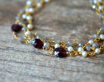 Pearl labradorite bracelet Garnet bracelet Multi layer bracelet Multi strand cuff bracelet Rosary chain bracelet Beaded gemstone bracelet