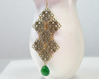 Antique gold lace filigree earrings Tudor rose earrings Long Boho earrings Bohemian hippie jewelry Lightweight green teardrop earrings