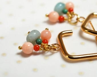 Gemstone hoop earrings Semiprecious stone Amazonite coral Cluster earring Drop earring Dangle earrings Square hoop earring Gold hoop earring
