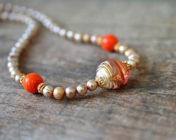 Murano glass necklace Elegant champagne pearl necklace Murano necklace Orange Venetian glass bead necklace Italian Murano jewelry