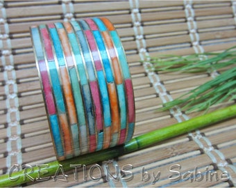 Wide Stone Inlay Bangle Brass Gold Tone Metal Colorful Multicolored 1.5 Inches Stripes Striped Bracelet Vintage FREE SHIPPING (478)