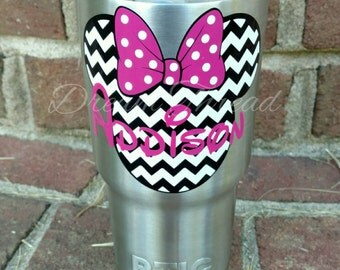 Minnie Mouse Name chevron Decal, Disney, laptop Decal, yeti decal, car Decal, girly (made to order)