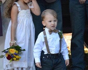 Brown Burlap Bow tie suspenders Baby bowtie Dark Tan Jute Boys Bow ties Toddler Necktie Gray Mens bowties Rustic Wedding Ring Bearer Outfit