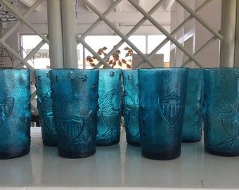 Blue Americana Glasses made in Italy, Set of  8- Free Shipping!