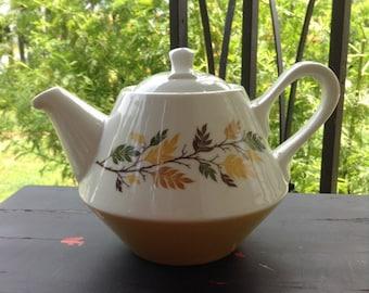 Hall China Flare Ware Vintage Teapot Autumn Leaf Pattern