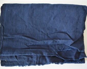 Vintage Japanese Indigo Dyed Cotton With Kashiwa By