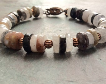 "Natural Quartz Bead Bracelet / One-of-a-Kind / Disc / White / Clear / Brown / Antique Copper / Pine Cone / Antique Clasp - 7 3/4"" long - B46"