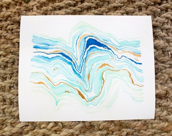 Abstract Agate, Watercolor Print, 5x7, 8x10, Wall Art, Nature, Paintings, Gift, Giclee Print
