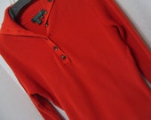 Orange Cotton Knit Sweater Button Placket Front With Wide Collar Converts to a Turtleneck  all seasons Ralph Lauren