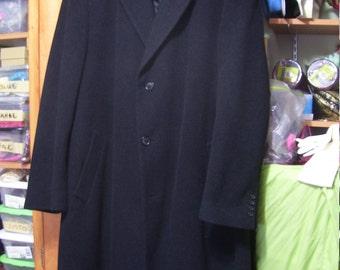 Men's London Fog GQ Dress Coat Black Wool  Size 44 L