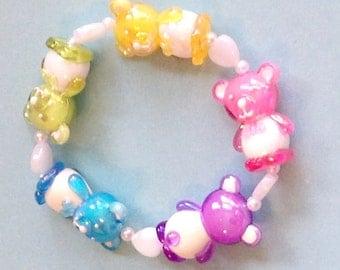 Kawaii Party - Pastel Rainbow Teddy Bear Stretch Bracelet with Iridescent Heart Beads