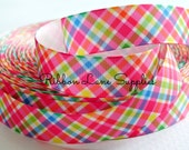 "7/8"" Ribbon by the Yard-Bright color Summer Plaid grosgrain-Preppy ribbon-sewing, crafting supplies by Ribbon Lane Supplies on Etsy"