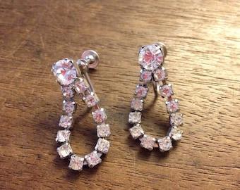 Wedding Rhinestone Teardrop Loop Screw Back Earrings