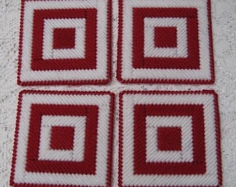 Coasters - Red and White - Quilt Blocks - Set of 4 - Double Thick Table Protectors