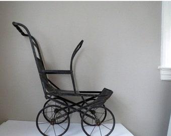 ON SALE Antique Folding Doll Stroller