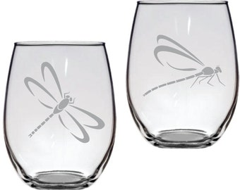 Dragonfly Glass Set of 2  FREE Personalization