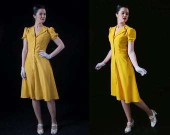 1940s style Yellow Dress / Polka dot / Tea dress / Swing dress