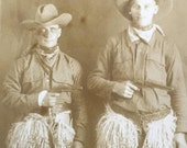 Cowboys in Wooly Chaps with Pistols Vintage Real Photo Postcard RPPC
