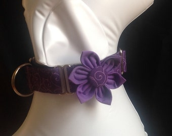 "Martingale Dog Collar Flower Set 1"" And 1.5.   Vine Purple  - Size S, M,  L, XL"