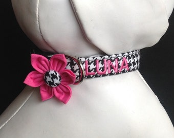 Dog Collar Flower Set Embroidered With Your Dogs Name - Black And White Houndstooth - Size XS, S, M, L, XL